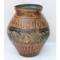 Brown Wooden Metal Round Pot Style Fowler Vase