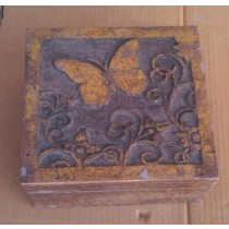Burnt Wooden Texture Decorate Butterfly Wooden Box