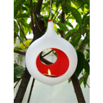 Light Seed Small Ceramic Hanging Candle Holder - Drop shape-Red/Orange