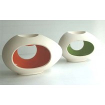 Large Ceramic Oil Burner - Egg Shape-with colour glazed inside