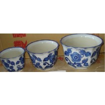 Set Of 3 Blue Flower Print Ceramic Planter