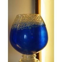 Colored Blue Burnt Sienna Swirls Candle Holder