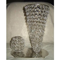"Silver Cone Shape With Crystal Beads Candle Holder(Size 5'' x 9"")"