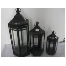 Contemporary pillar Iron with glass lantern size-12""