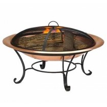 Copper Bowl With Iron Stand With Black Net Cover Fire Pit