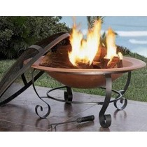 "28"" Large Copper Bowl With Iron Mesh Fire Pit"