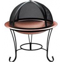 Copper Hammered Bowl With Iron Stand Fire Pit