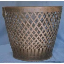 Round Bucket Style Copper Metal Basket Weave Storage Container