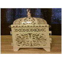 Cream colored mini iron lantern size-8""