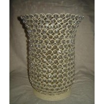 "12'' x 5""Crystal Diamond Beads With Metal T-Light Candle Holder"