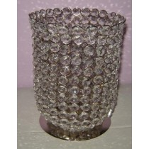 "9 x 6"" Silver Metal Wire With Crystal Beads Hurricane Candle Holder"