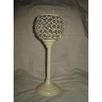 Metal Cream Long Base With Crystal Ball Shape Candle T-Light Holder