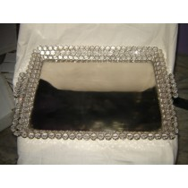 "Decorative Crystal Diamonds With Glass Tray(12'' x 12"")"