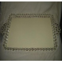 "Cream Metal Wire Tray With Crystal Beads Design (12'' x 12"")"