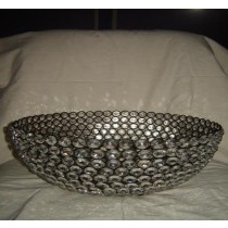 Decorative Crystal Beads Bowl With Black Metal Wire Design