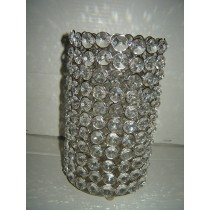 "9'' x 6""Crystal Beads Decorative Round T-Light Candle Holder"