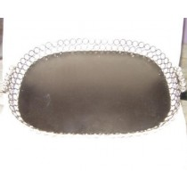 "Decorative Round Metal Serving Tray With Crystal Beads (8''x 10 "")"