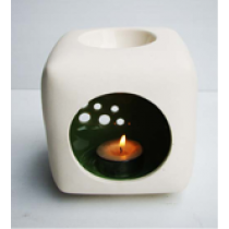 Ceramic Oil Burner - Square Shape with colour glazed inside