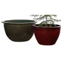 Green Durable 16'' Glazed Ceramic Planter
