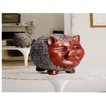 Cute pig sculpture money pot (A)