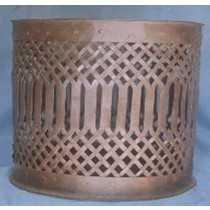 Copper Metal Cylindrical Round Basket Weave Container