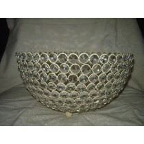 "Round Metal Weave Decorative Crystal  Basket Bowl (10'' x 6"")"