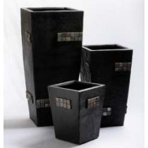 Elegance Black Mosaic 24 Inch Fiberglass Planter
