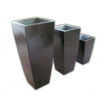 Durable Grey Finish 24 Inch Height Fiberglass Pots