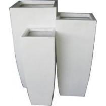 Shiny White Large Fiberglass Planter