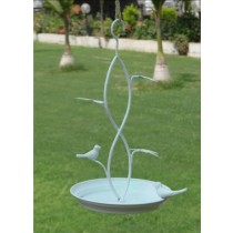 Hanging Designer White Metal  Bird Bath