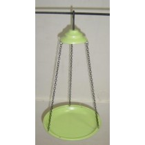 Light Green Hanging Metal Bird Bath With Chain
