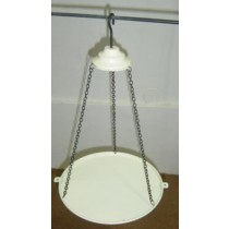 White Hanging Metal Bird Bath With Chain