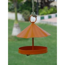 Orange Designer Metal Bird Feeder