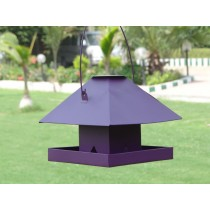 Violet House Shape Metal Bird Feeder