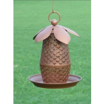 Brown Designer With Leaves Metal Bird Feeder