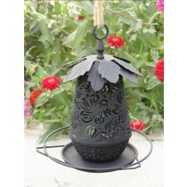 Black Decorative With Leaf Metal Bird Feeder
