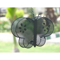 Black Decorative Metal Wire Butterfly Bird Feeder