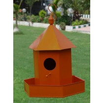 Orange Hanging  Metal Bird House