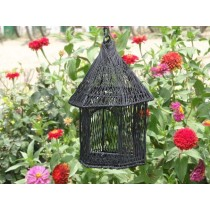 Black Wire Metal Decorative Long Bird House