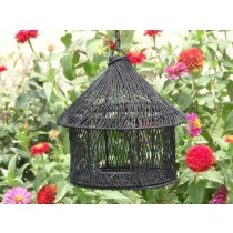 Black Metal Wire Wide Single Window Bird House