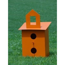Orange Square Metal Bird House