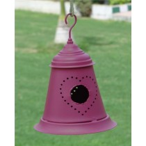 Pink Metal Bell Decorative Bird House