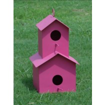 Double Decker Pink Metal Bird House