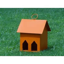 Orange Decorative Window Metal Bird House