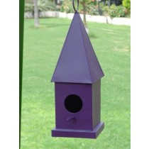 Tall House Style Violet Metal Bird House