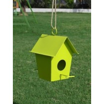Parrot Green Hanging  Metal Bird House