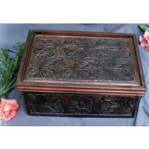 Dark Brown Wooden Box With Floral Embossed Work(18''x 10'' x 6'')