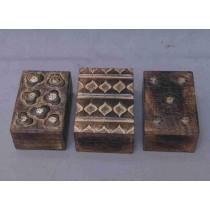 "Set/3 Dark Walnut Decorative Design Wooden Box (6'' x 4"")"