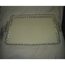"12'' x 12"" Square Cream Metal Wire Design With Crystal Beads Tray"