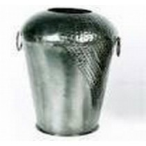 Large Decorative Silver Metal Vase With Side Handle